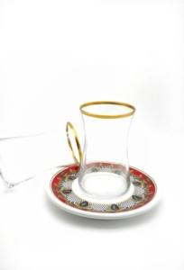 Özcam Kristal 12 Parça Tabak Desenli Çay Takımı D-1638
