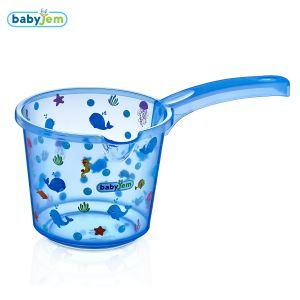 Babyjem Bebek Banyo Maşrapası Şeffaf Desenli Mavi