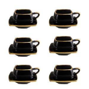 Fatih Home 6 Kişilik 12 Parça Seramik Kahve Fincanı Siyah