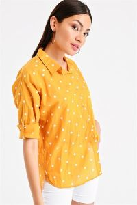 Puantiye Nakışlı Gömlek Sarı