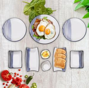 Tuna 15 Parça Seramik Kahvaltı Takımı- Lacivert