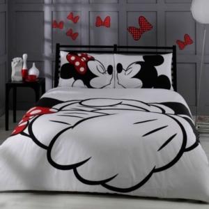 Taç Çift Kişilik Disney Mickey & Mini Beyaz Lisanslı Ranforce Nevresim Takımı