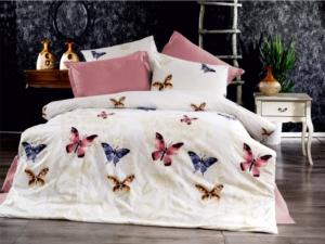 Bedbox Çift Kişilik Ranforce Butterfly Desenli Nevresim Takımı 3042