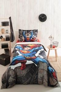 Özdilek Superman Stone Tek Kişilik Ranforce Lisanslı Nevresim Takımı Gri