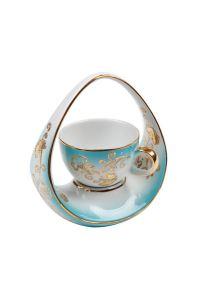 Kütahya Porselen El Yapımı Sepet Kahve Fincan Turkuaz