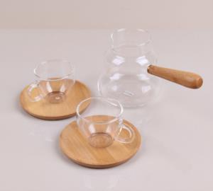 Bastonlu Züccaciye Bambu Tabaklı Kahve Fincanı ve Cam Cezve Seti