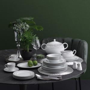 Güral Porselen 84 Parça Yuvarlak Tolstoy Yemek Takımı Bantlı 5706 PLT