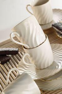 Kütahya Porselen Lilyum Krem Altın File Kahve Fincan Takımı
