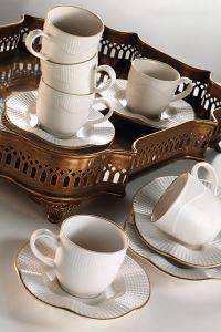 Kütahya Porselen Milena Krem Altın File Kahve Fincan Takımı