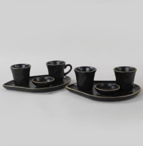 Keramika Moka İkram Seti Fileli Mat Siyah 8 Parça 2 Kişilik