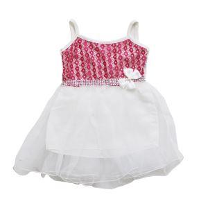 Fuşya Çiçekli Beyaz Tüllü Kız Bebek Elbise