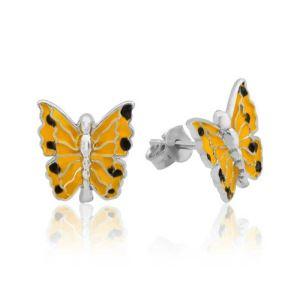 Gümüş Sarı Kelebek Çocuk Küpesi