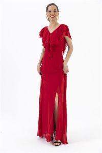 Volanlı Şifon Astarlı Abiye Elbise Kırmızı