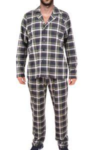 Tom John Erkek Pijama Takımı Uzun Kollu Cepli Düğmeli Pamuk