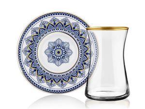Çiçek Lacivert Çay Seti (İnce)