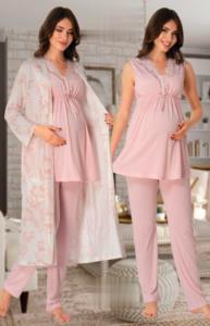 Effort Pembe Desenli Sabahlıklı Pijama Lohusa Set 8034