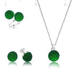 Gümüş Yeşil Kristal Bayan Set