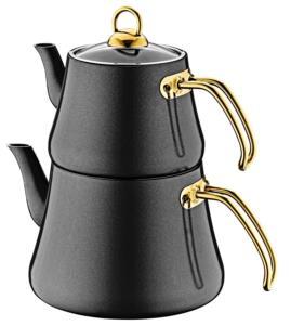 Oms Aile Boy İndüksiyonlu Elagant Çaydanlık Takımı 8203 Siyah