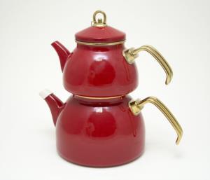 Zarif İnci Grandeur Glory Emaye Çaydanlık Seti- Kırmızı