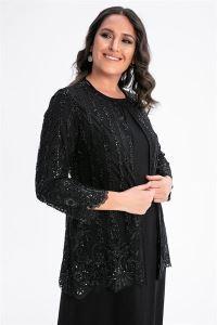Güpür Ve Pul Detaylı Büyük Beden Elbise Ceket Takım Siyah