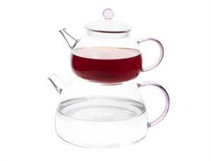 Tantitoni Borosilikat Pembe Kulplu Cam Çaydanlık Takımı BELLO DG460PAB