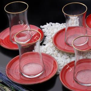 Özlife 12 Parça Damla Kırmızı Porselen Çay Seti- 926