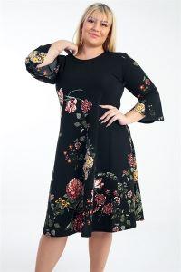 İspanyol Kol Karanfil Desenli Örme Krep Büyük Beden Elbise Siyah