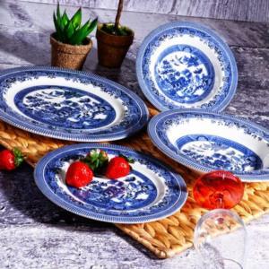 Kosova 24 Parça Porselen Yemek Takımı POR-0023 DARK BLUE CHURCHİLL