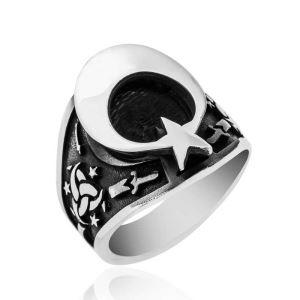 Gümüş Teşkilat-ı Mahsusa Armalı Ay Yıldız Erkek Yüzük