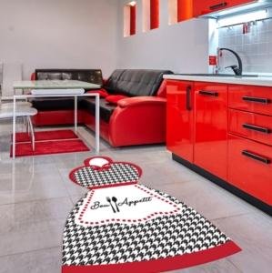 Gosse Saçaksız Mutfak Halısı Bon Appetit Red 100X140cm