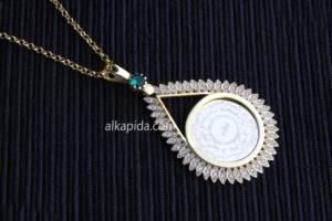 Gümüş İşlemeli Damla Plaka Kolye PLK04-GOLD