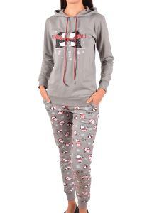 Nicoletta Kadın Pijama Takımı Uzun Kollu Kapüşonlu Jakarlı