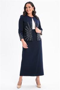Önü Kolları Taşlı Büyük Beden Elbise Ceket Takım Lacivert