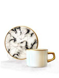 Asaf Çay Fincan Seti 6 lı White Marble