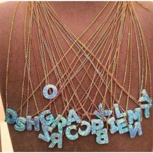 Gümüş Opal Harf Bayan Kolye