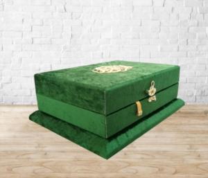Ahşap Kadife Sandıklı Kuran-ı Kerim - Yeşil Renk AYFA289