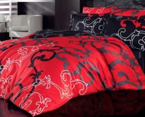Cotton Life Çift Kişilik Polycotton Nevresim Takımı Red Black