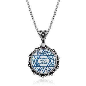 Gümüş Mavi Mineli Süleyman Mührü Kolye