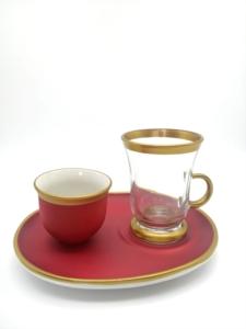 Özcam Kristal 18 Parça Geniş Tabak Çay Takımı D-1222 - Kırmızı