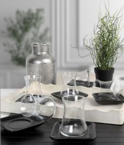Keramika Mat Siyah Çay Takımı 12 Parça 6 Kişilik