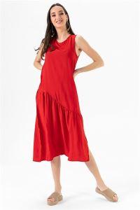 Kolsuz Yanı Yırtmaçlı Elbise Oranj