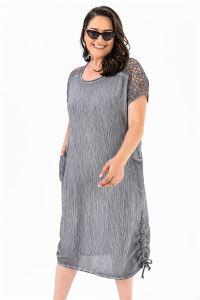 Omuzu Güpür Krınkıl Cepli Büyük Beden Elbise Koyu Gri