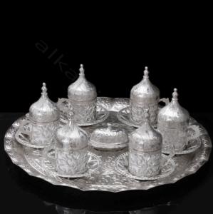 Fatih 27 Parça Osmanlı Gümüş Renkli  Seramik Kahve Fincanı