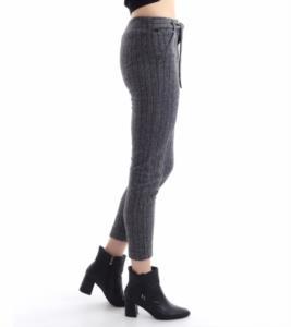 Darkline Kadın Gri Çizgili Kemerli Jogger Pantolon
