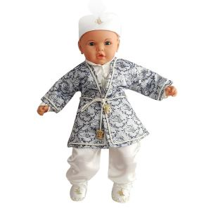 Tuğra Desenli Laci Gümüşlü Şehzade Erkek Bebek Mevlüt Takımı