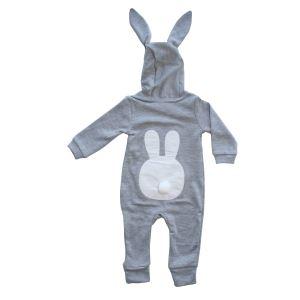Yeni Model Gri Tavşan Kulaklı Ponponlu Bebek Tulum