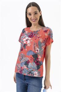 Çiçekli Yapraklı Krep Likra Bluz Fuşya