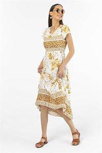 Yaka Ve Kol Ucu Dantelli Çiçekli Viskon Elbise Sarı