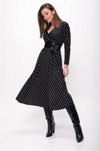 Kruvaze Puantiyeli Kemerli Elbise Siyah