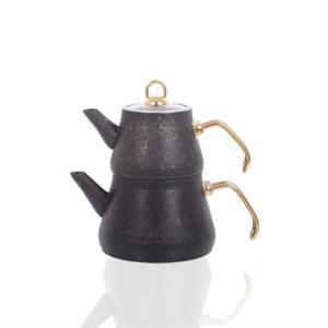 Bayev Altın Tozlu Metal Saplı Granit Çaydanlık 200469- Siyah-Altın